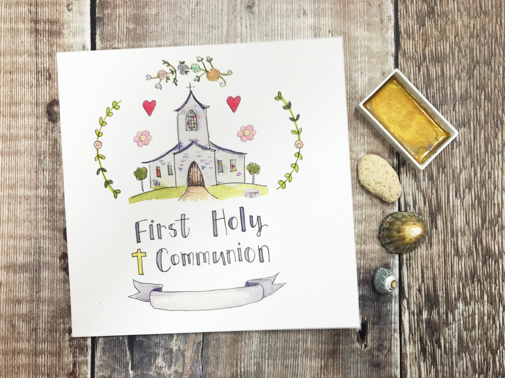 Floral First Holy Communion, Church Card - Personalised