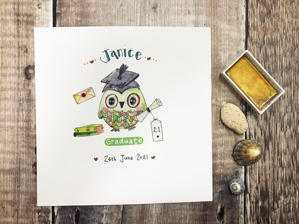 Little Green Graduation Owl Card - Personalised