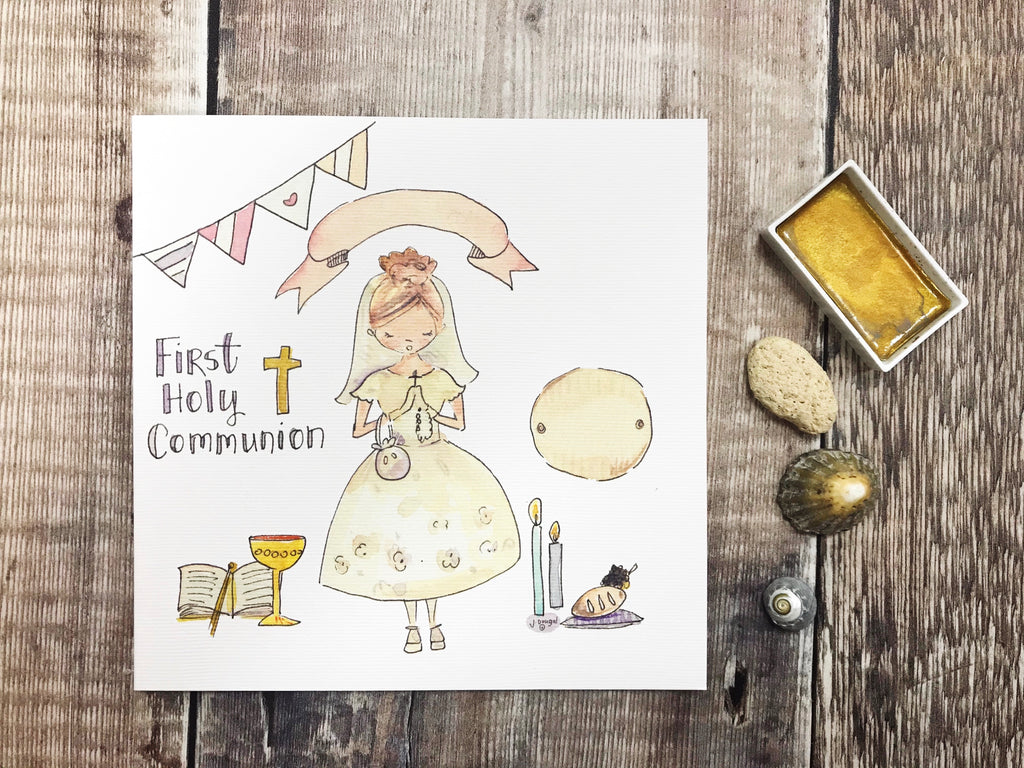 First Holy Communion New Standing Blonde Hair, Little Girl Card - Personalised