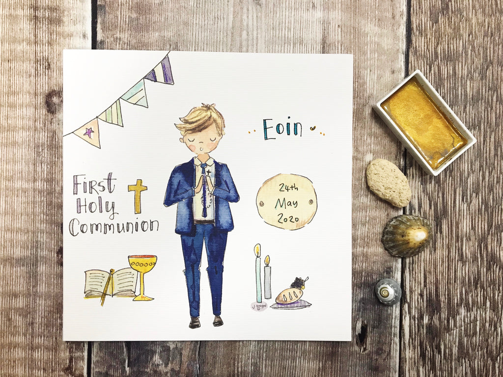 First Holy Communion New Standing Blonde Hair, Little Boy Card - Personalised