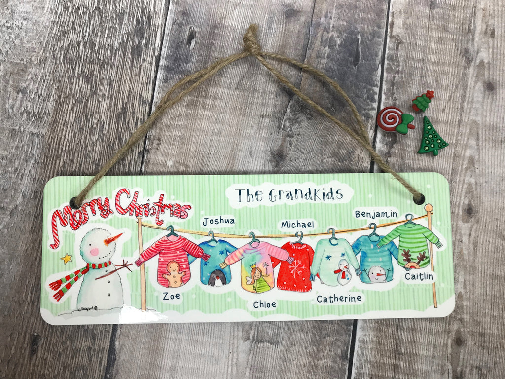 Hanging Wooden Christmas Jumper Plaque Grandchildren or Family