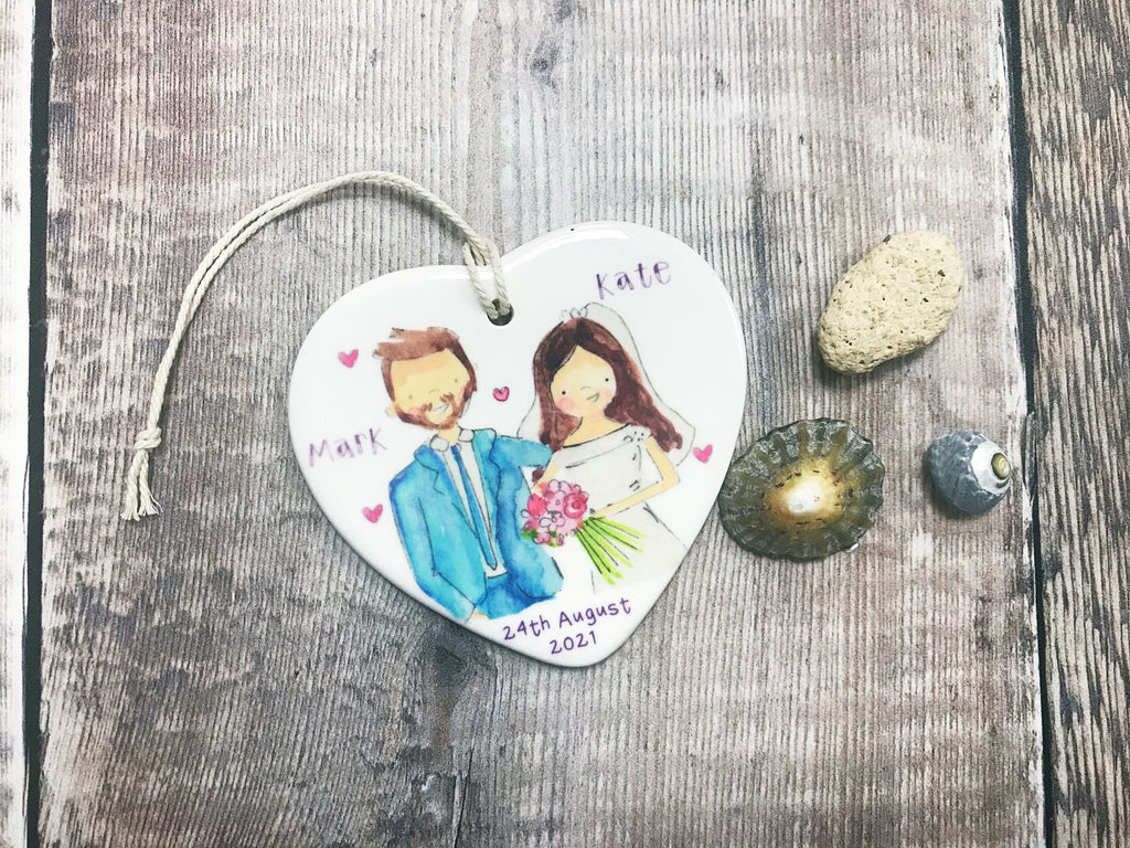 Wedding Couple Dark Hair, Man with Beard Ceramic Heart