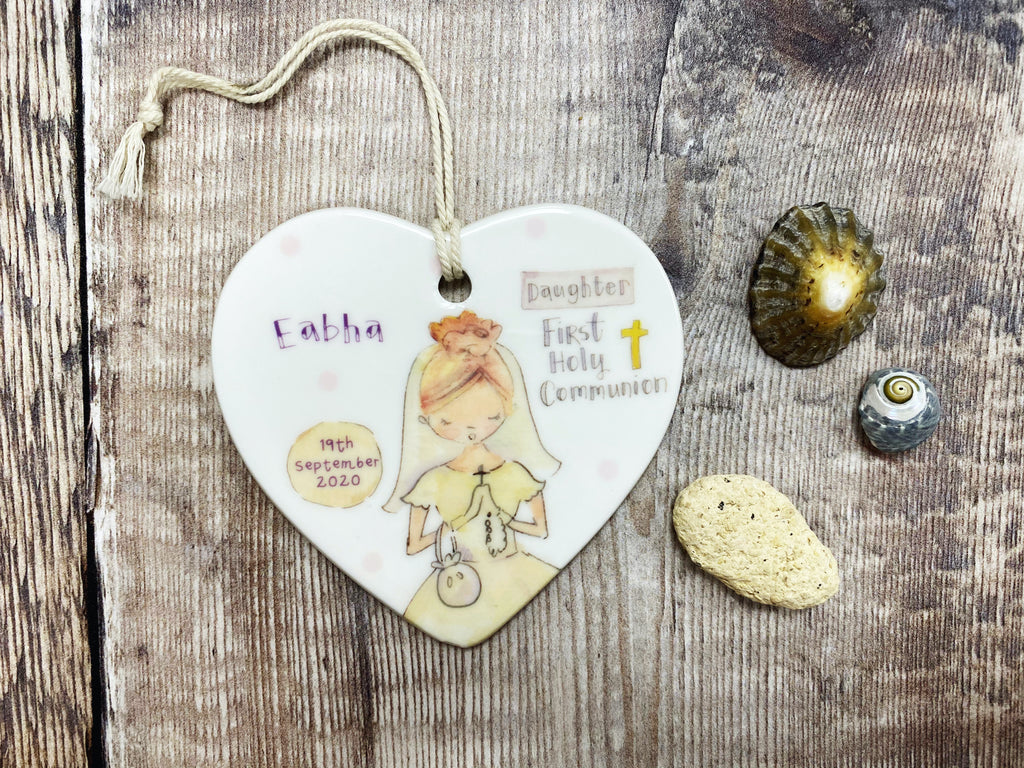 First Holy Communion Girl Light Hair Ceramic Heart