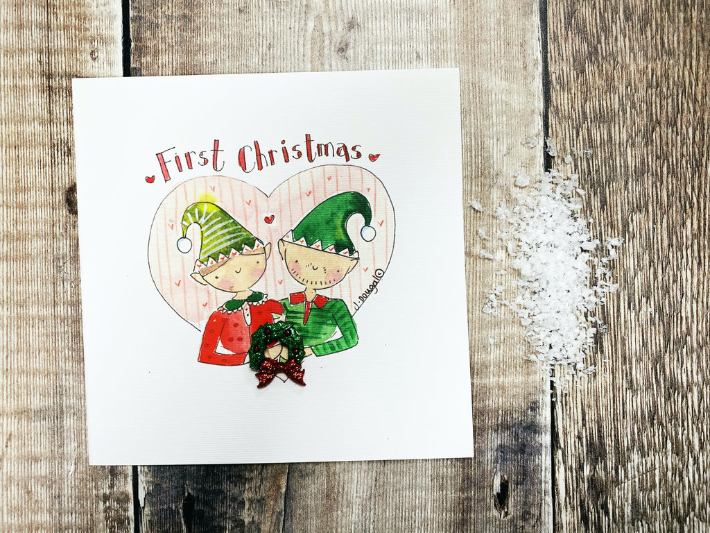 """First Christmas Elves"" Christmas Card - Personalised"