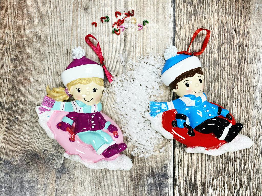 Child on Sleigh Stocking Christmas Decoration