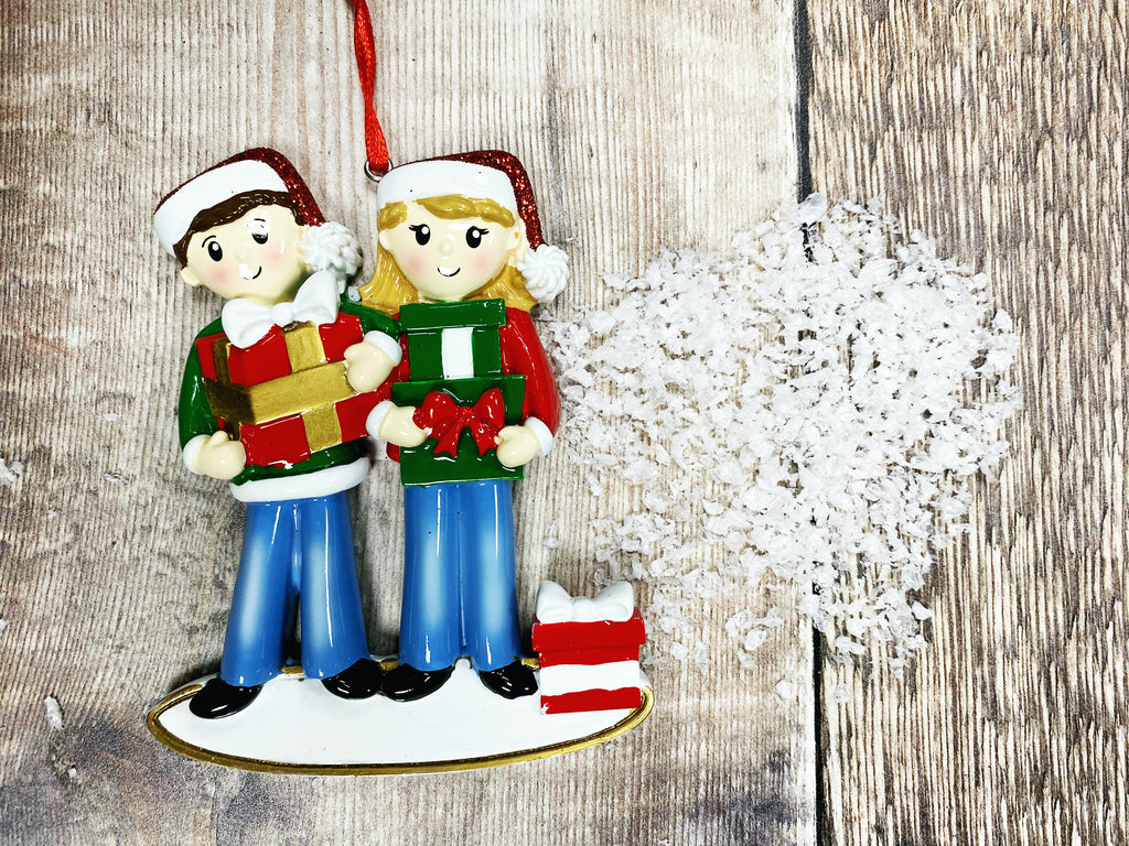 Little Couple with Presents Christmas Decoration