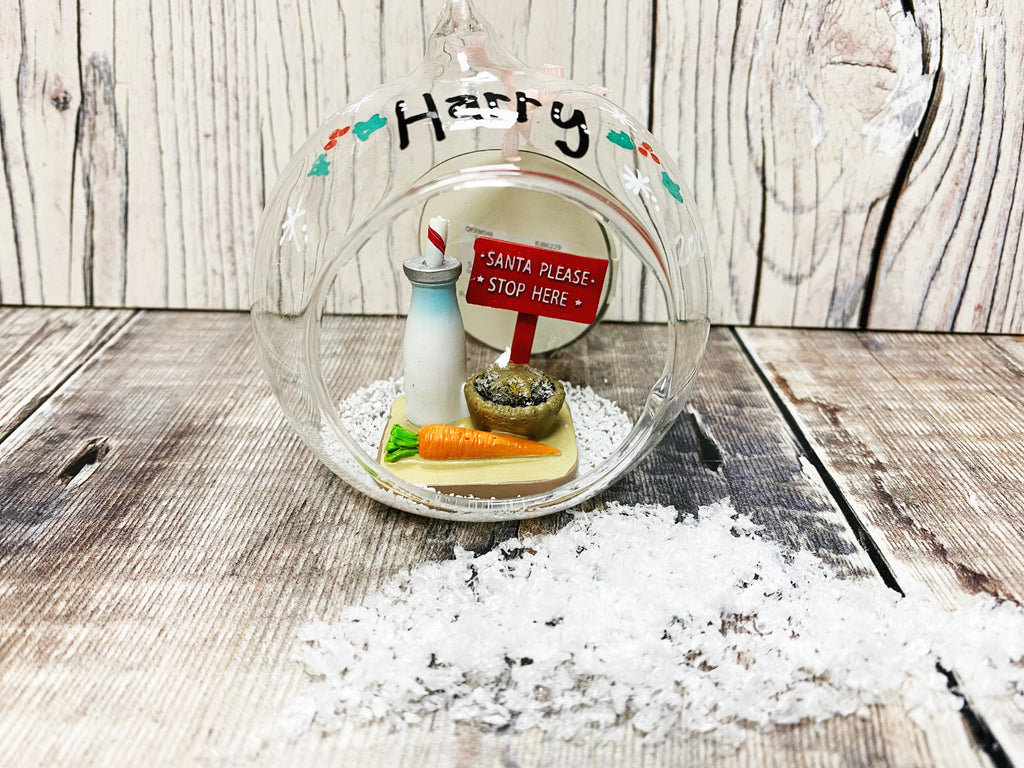 Santa Please Stop Here Glass Personalised bauble