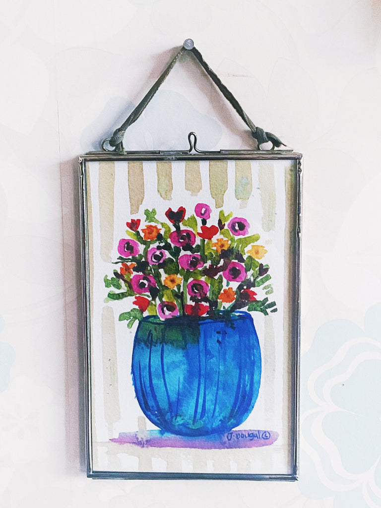 Little Blue Vase Hanging Glass Picture