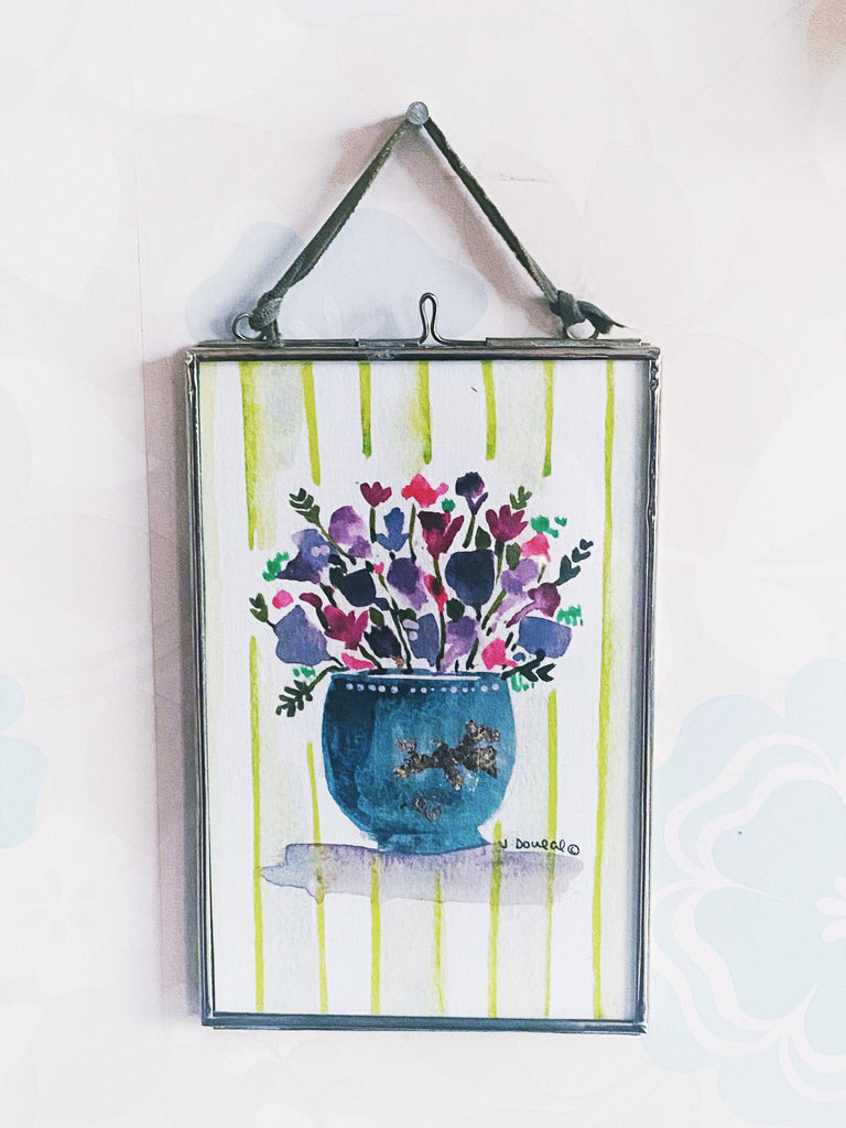 Little Purple Flowers Hanging Glass Picture
