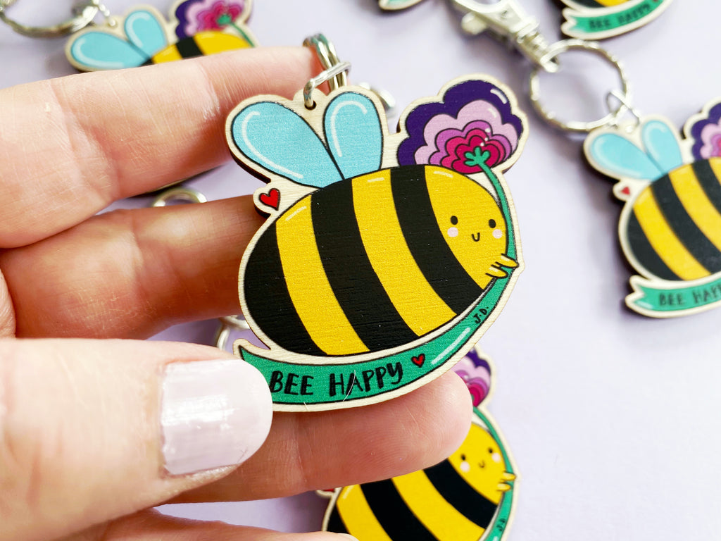 Bee Happy Wooden Keyring