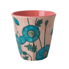 Rice Blue Poppy Print Melamine Medium Cup