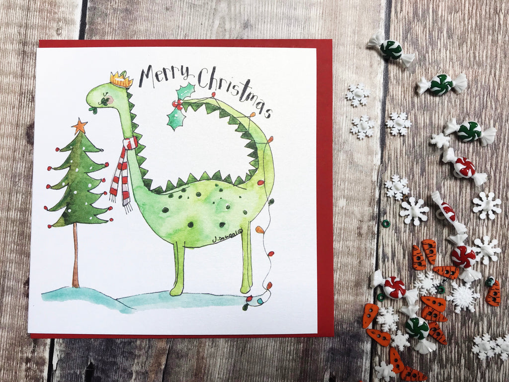 """Dippy Dinosaur"" Christmas Card - Personalised"