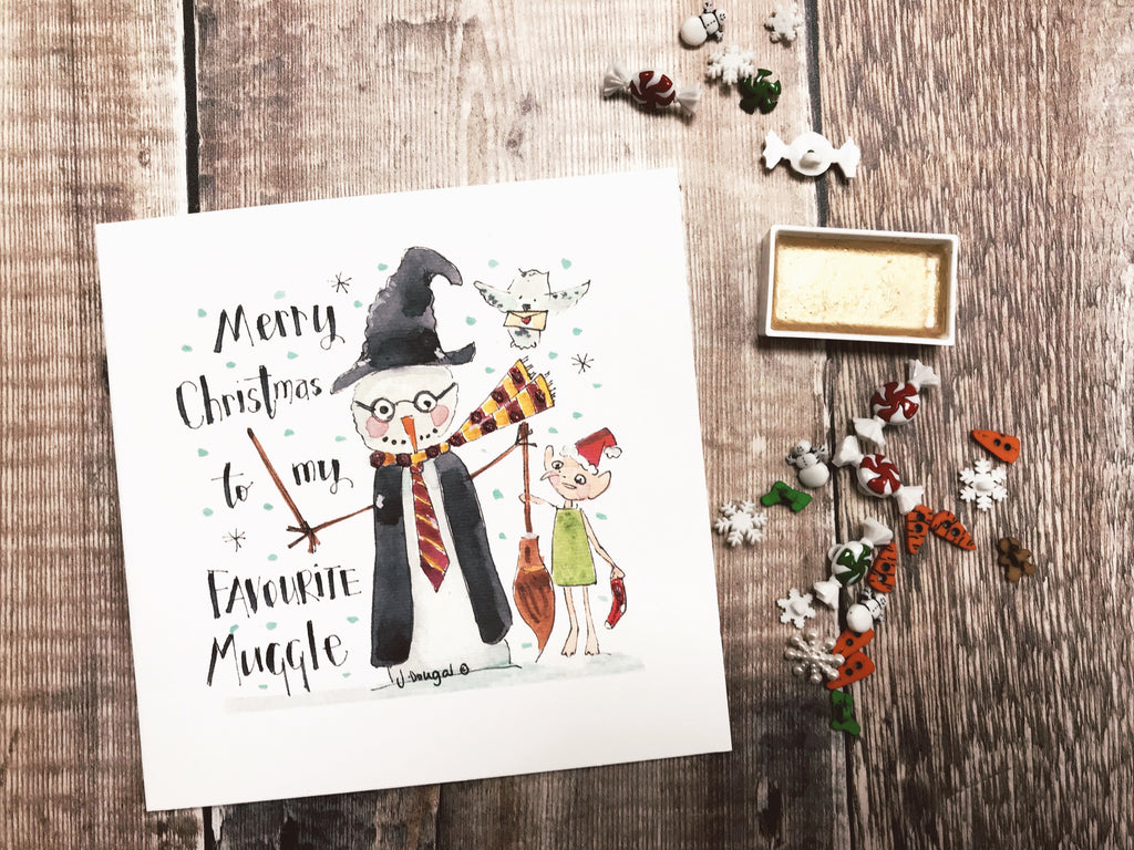 """Merry Christmas to my Favourite Muggle"" Card - Personalised"