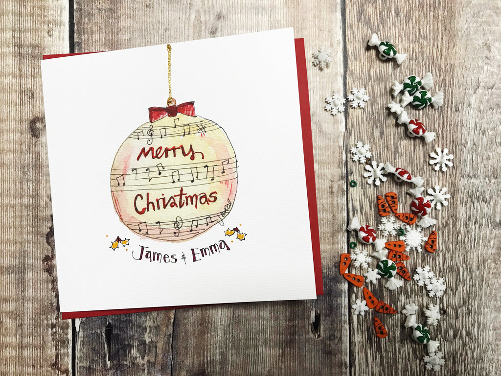 """Merry Christmas Music Bauble"" Card - Personalised"