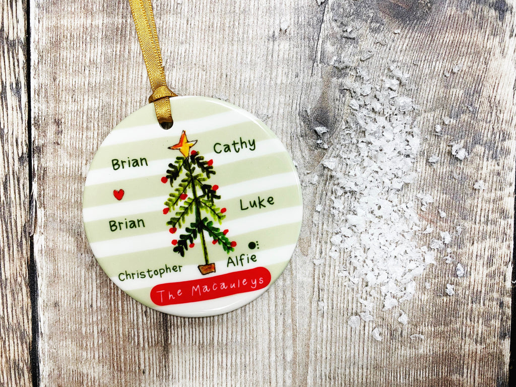 Family Tree Christmas Ceramic Bauble
