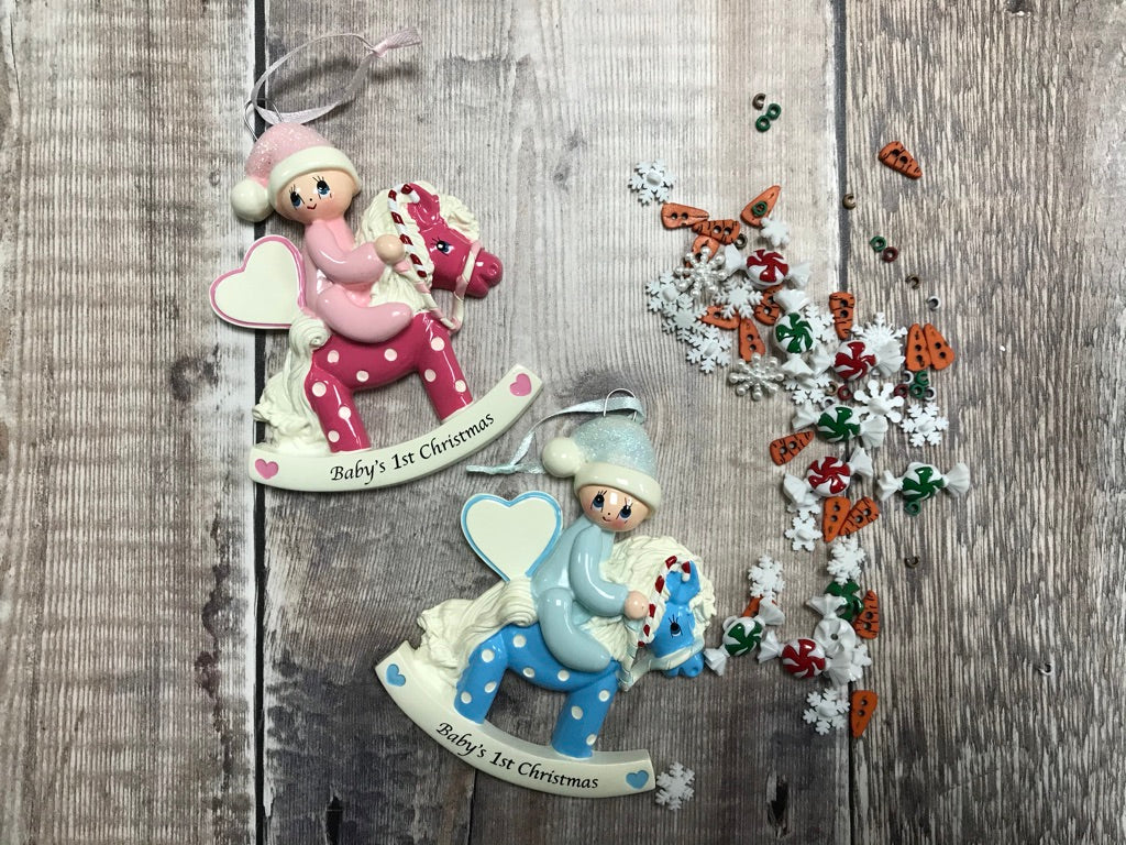 First Christmas Baby Rocking Horse Christmas Decoration