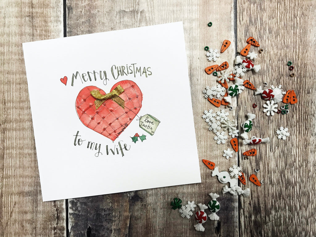 """Merry Christmas to my Wife"" Christmas Card - Personalised"