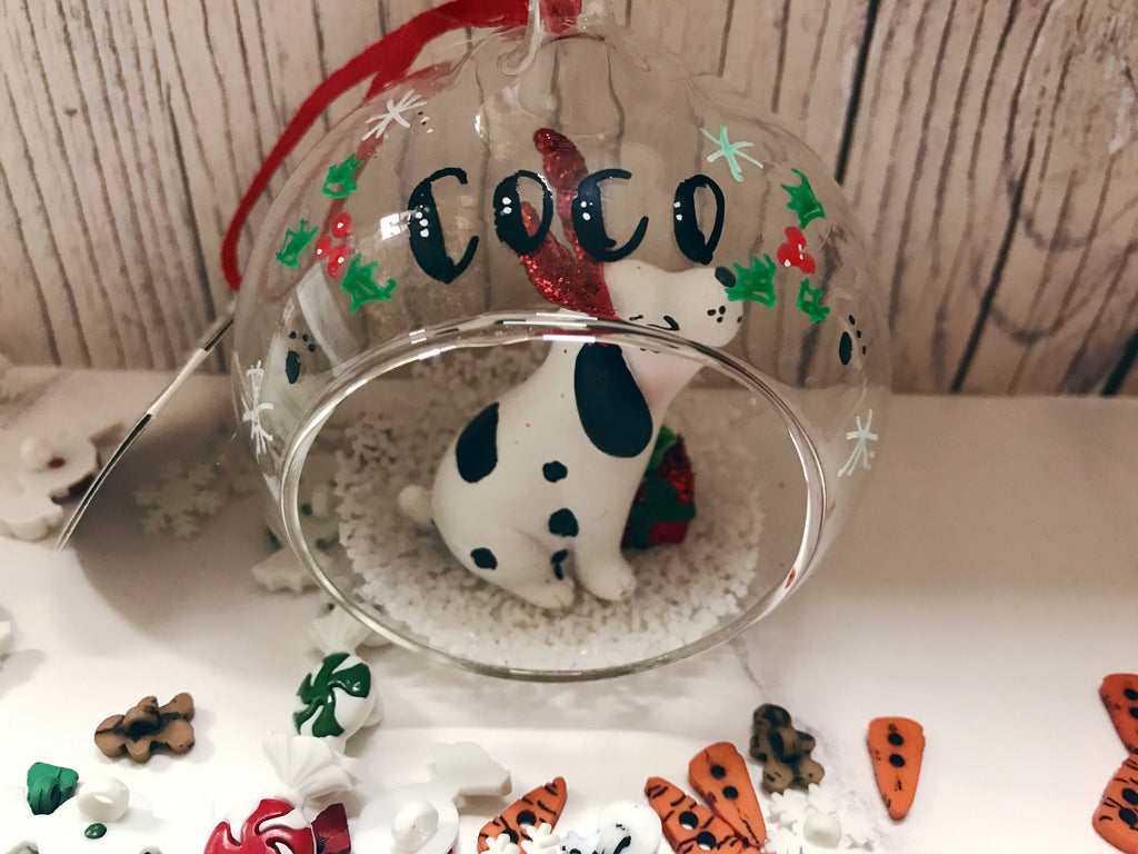 Little Spotty Dog personalised bauble