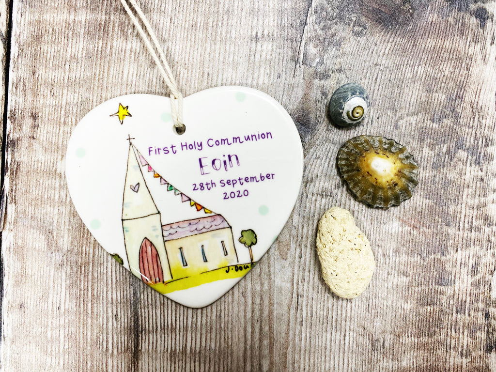 Copy of First Holy Communion Little Church Ceramic Heart