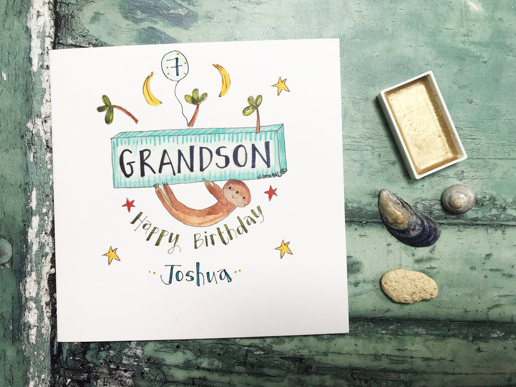 Happy Birthday Grandson Card - Personalised