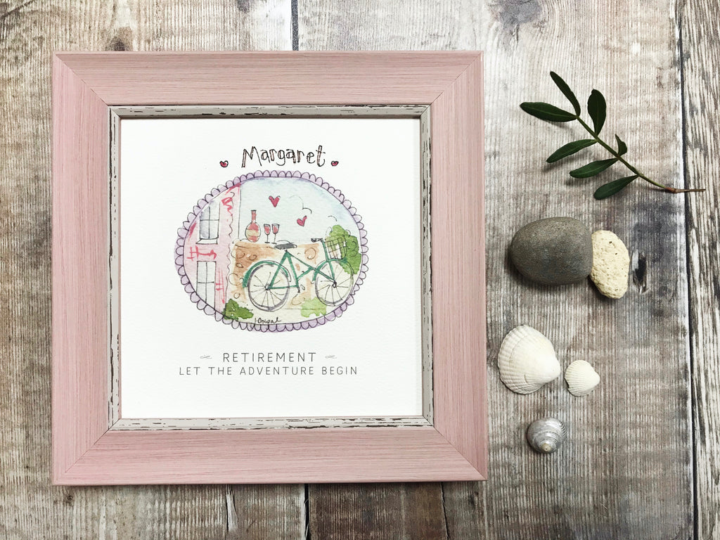"Little Framed Print ""Retirement, let the adventure begin"" can be personalised"
