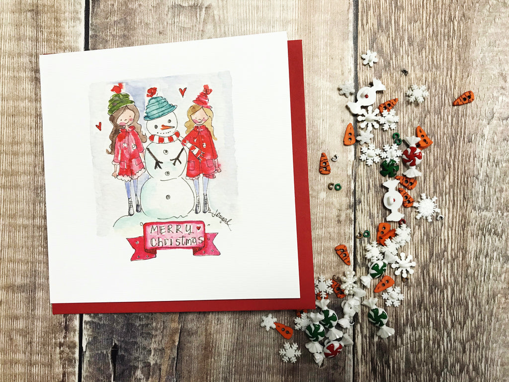 """Lets build a Snowman"" Christmas Card - Personalised"