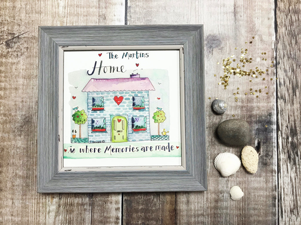 "Little Framed Print ""Home is where memories are made"" can be personalised"