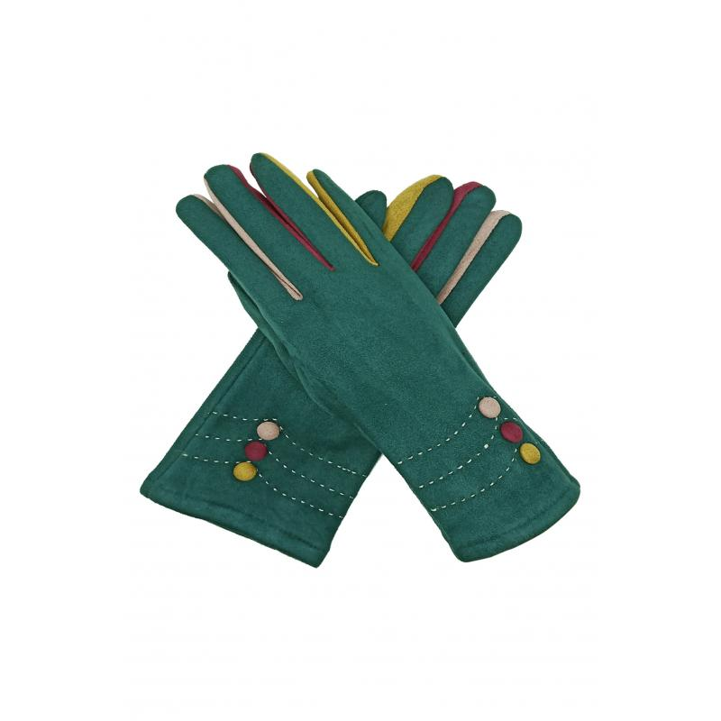 Multi Coloured Suedette Gloves Green