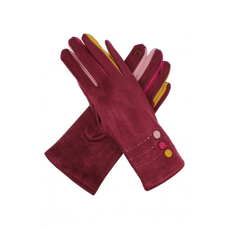 Multi Coloured Suedette Gloves Maroon