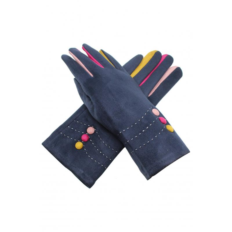 Multi Coloured Suedette Gloves Navy