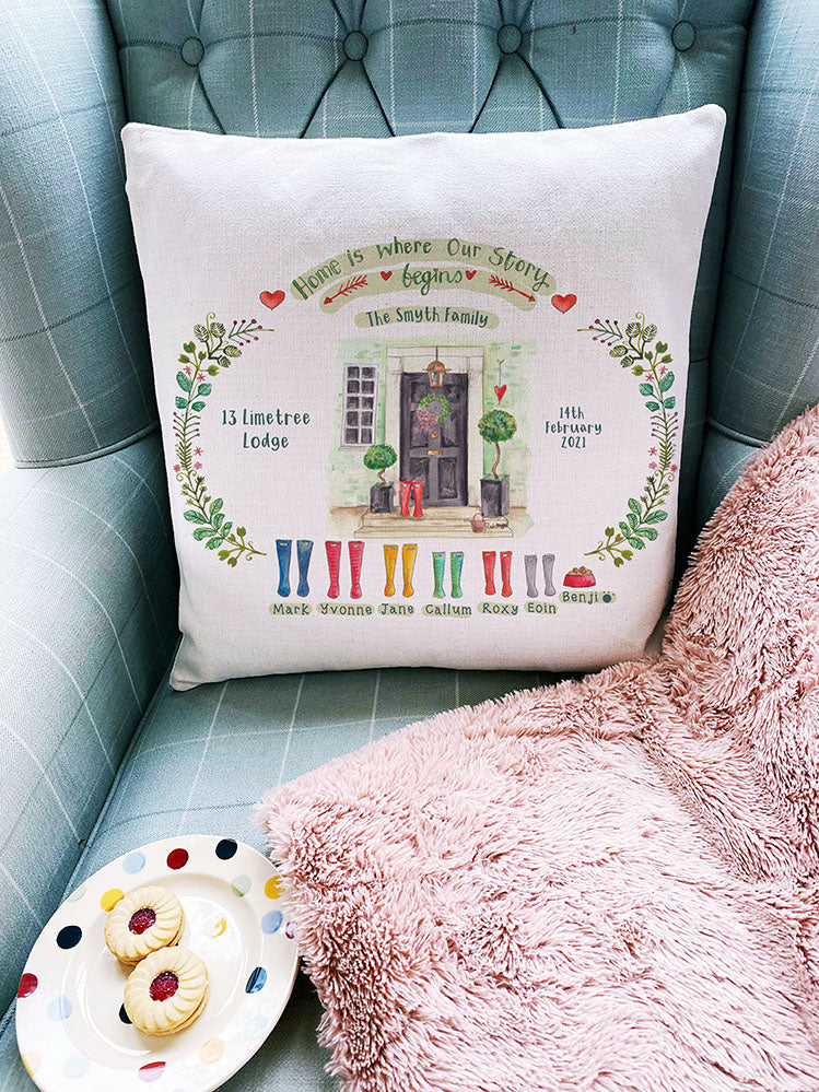 Front Door WELLIES FAMILY cushion