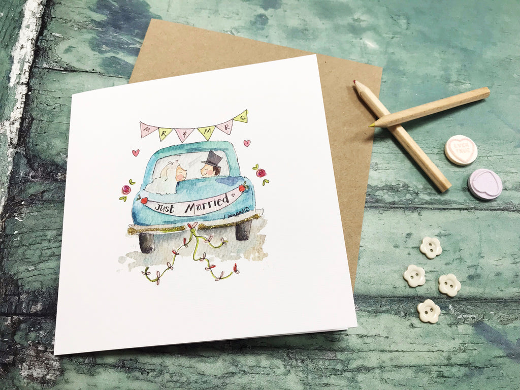 Just Married Little Car Wedding Card- Personalised