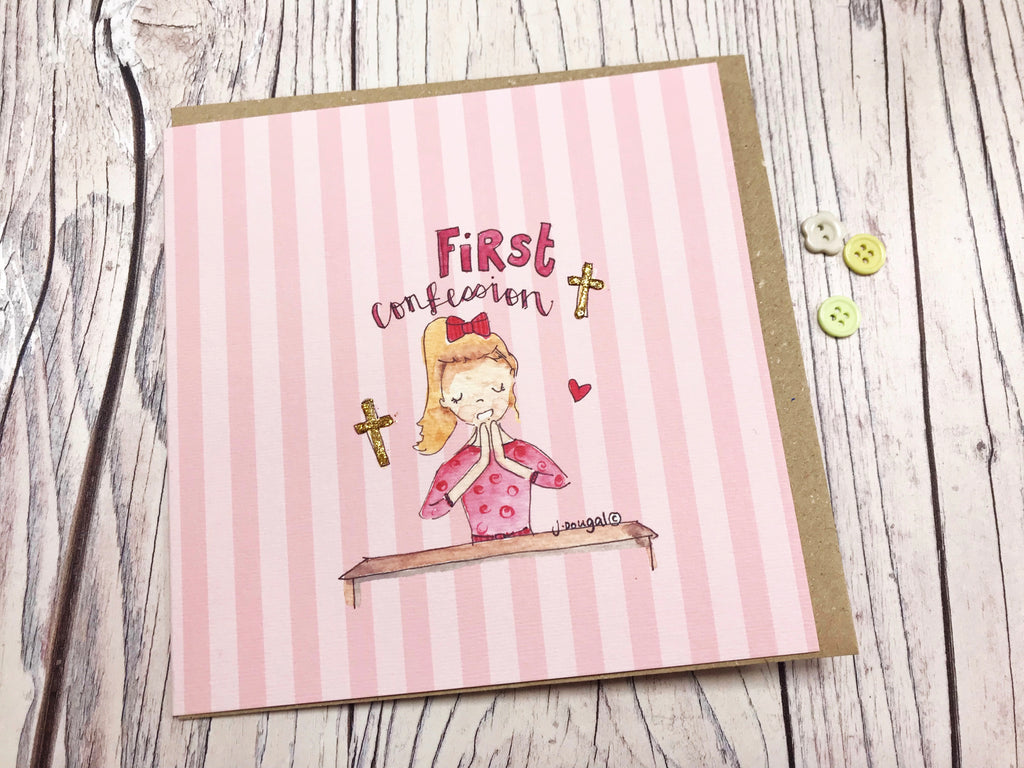 Girl First Confession Card - Personalised
