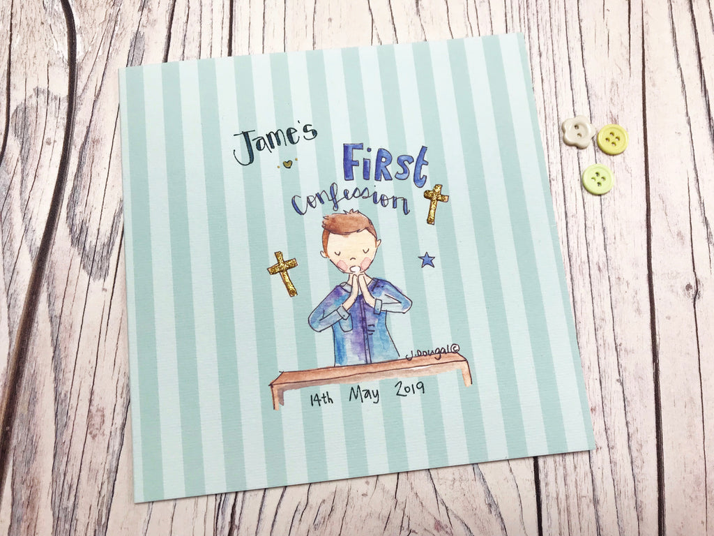 Boy First Confession Card - Personalised