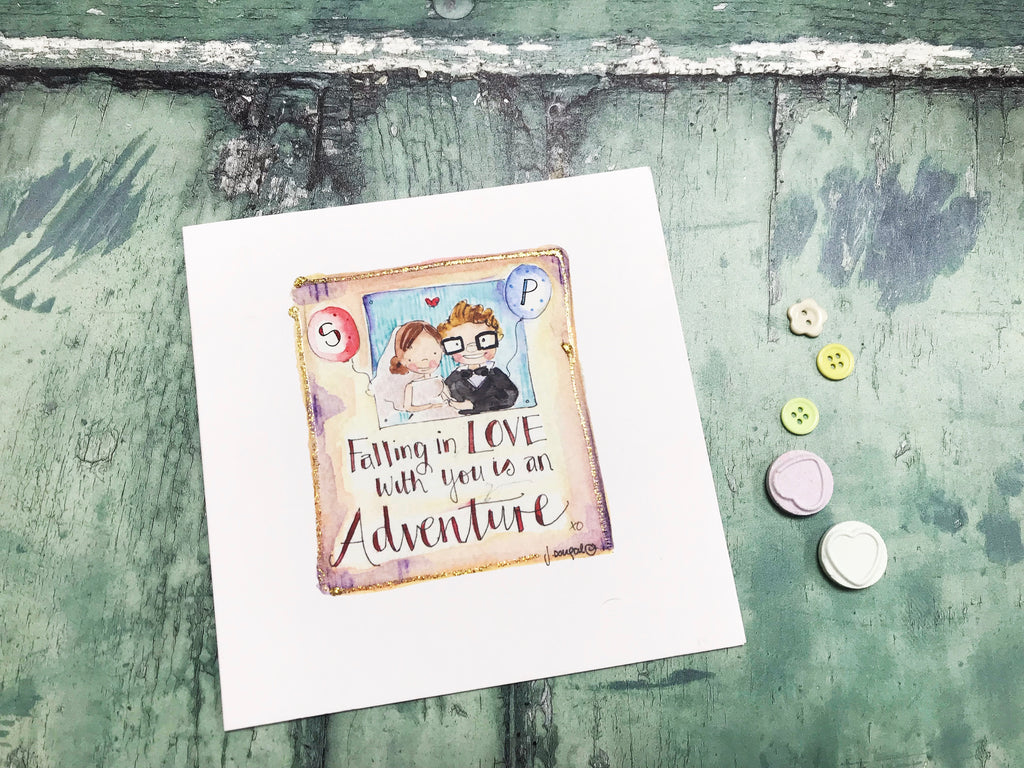 """Falling in Love with you is an Adventure"" Card - Personalised"