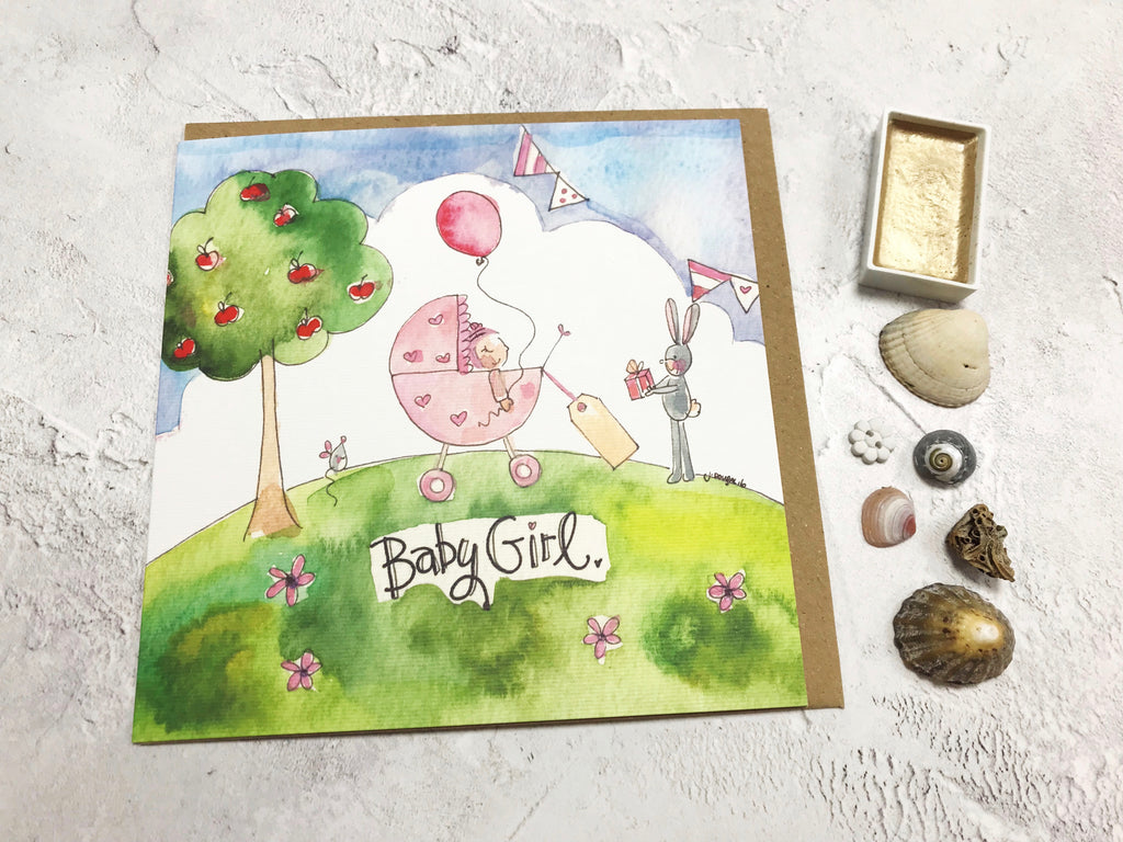 Little Scene  Baby Girl Card - Personalised