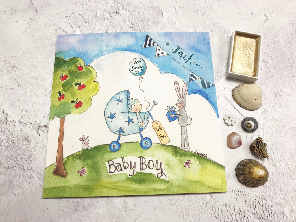 Little Scene  Baby Boy Card - Personalised