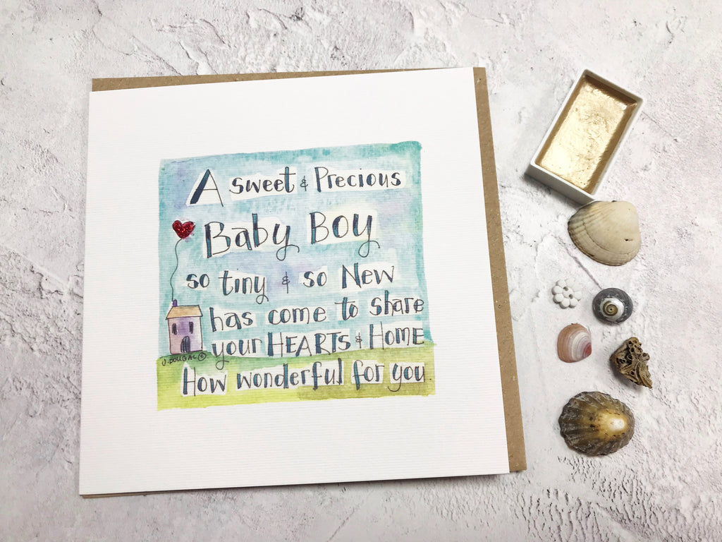 Sweet and Precious Baby Boy Card - Personalised