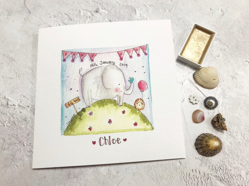 Baby Girl Card - Elephant - Personalised
