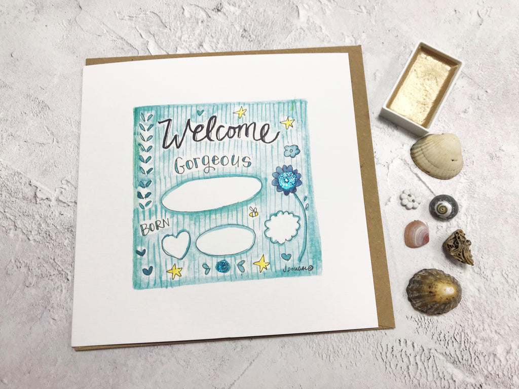 Welcome Baby Boy Card - Personalised
