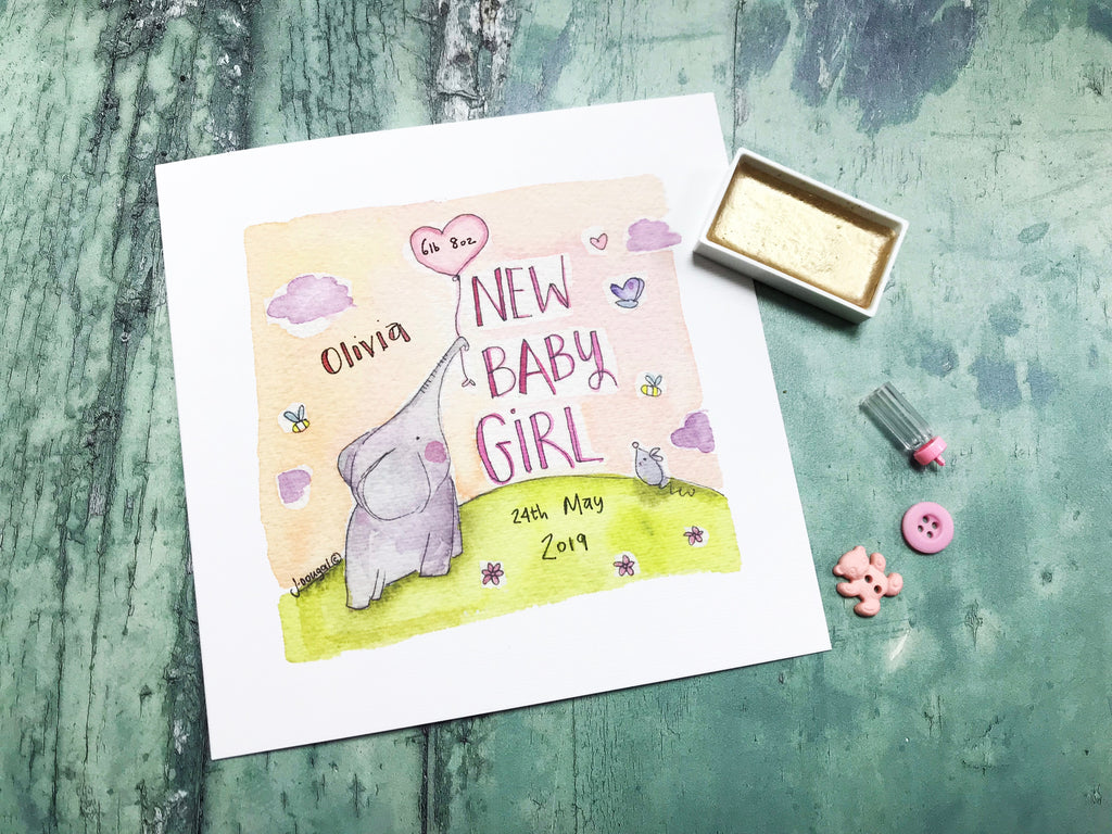 Baby Elephant Girl - Personalised