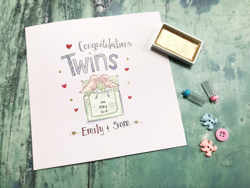 Baby Twin Mice Card - Personalised