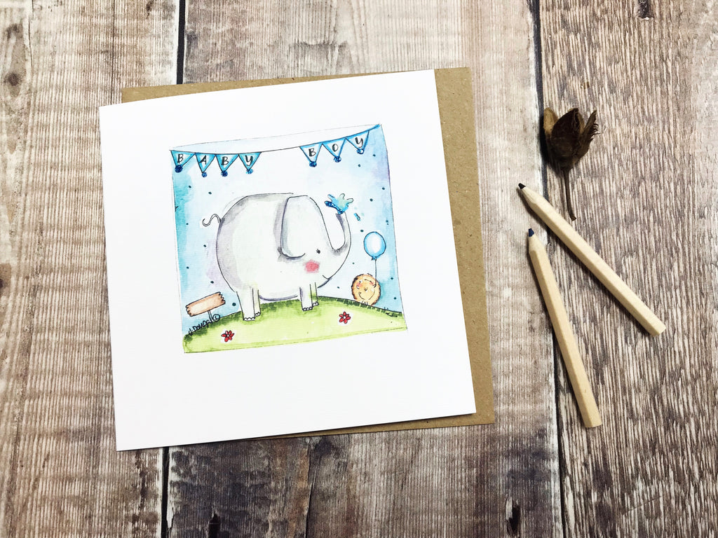 Baby Boy Card - Elephant - Personalised