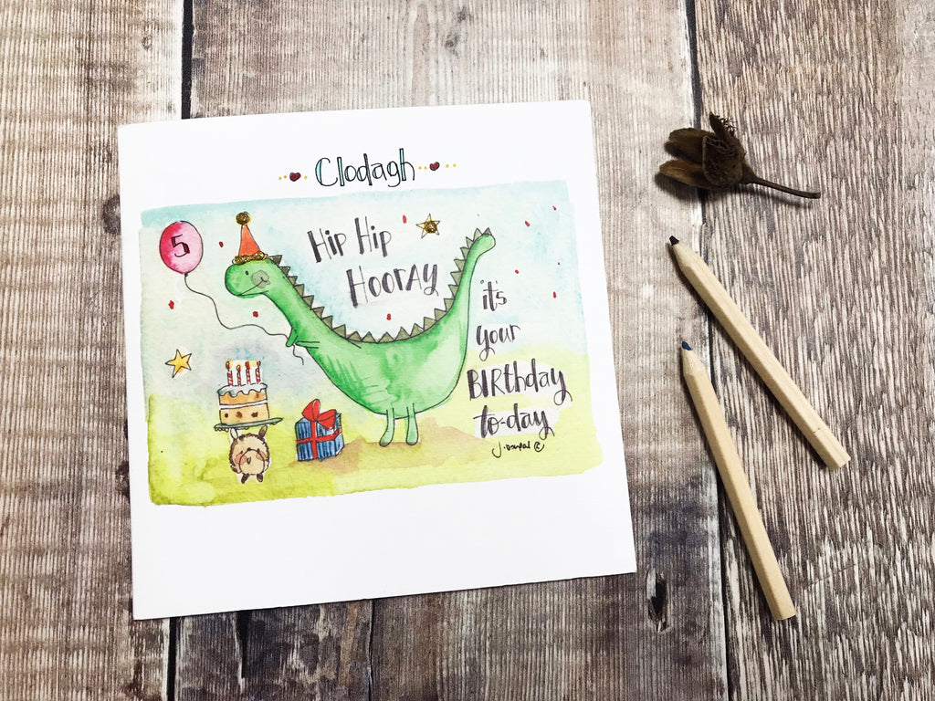 """Hip Hip Hooray, its your birthday today"" Card - Personalised"