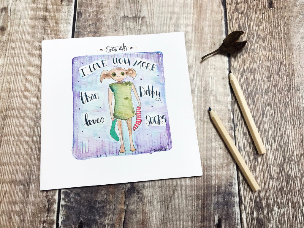 """More than Dobby Loves Socks"" Card - Personalised"