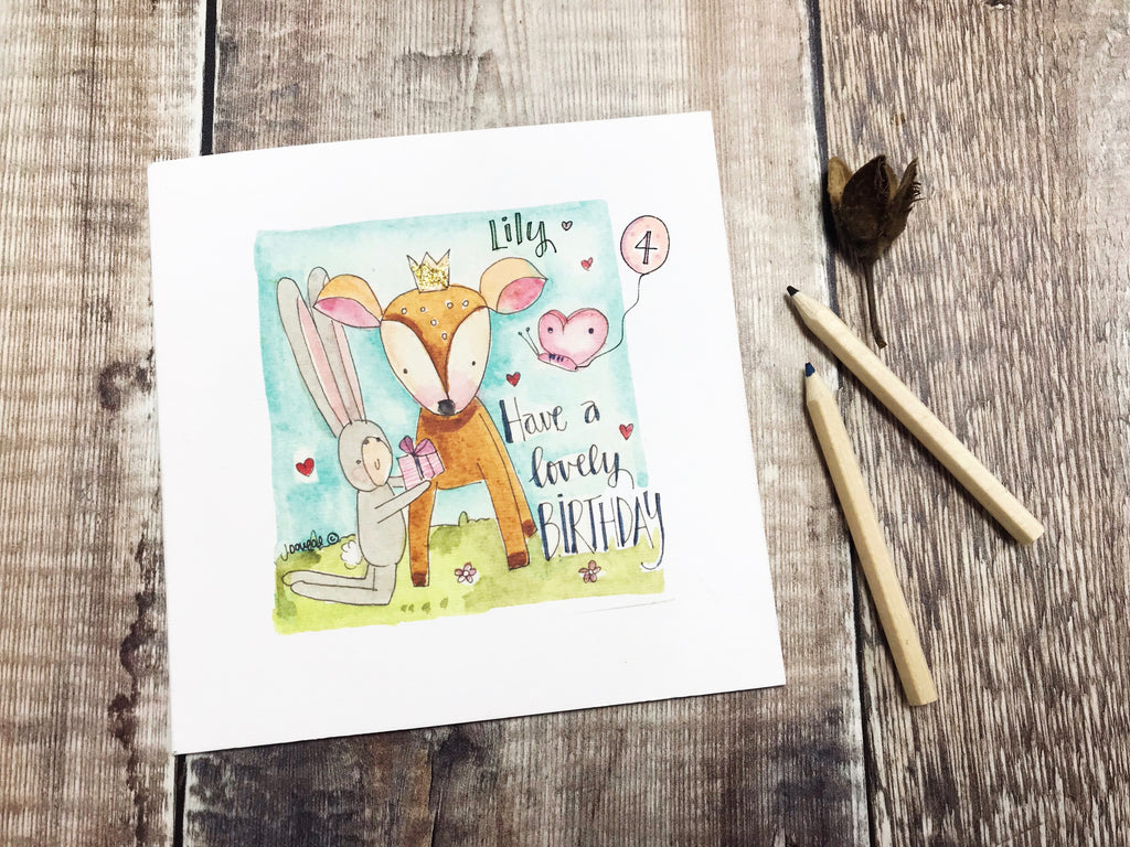 """Happy Birthday Deer"" Card - Personalised"
