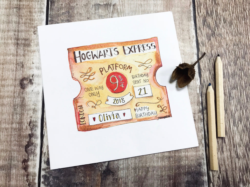 """Hogwarts Express Birthday"" Card - Personalised"