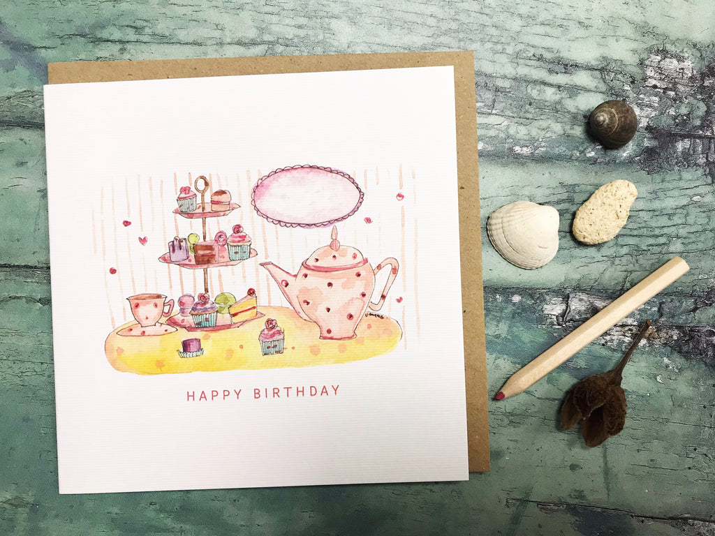 Tea Party Birthday Card - Personalised