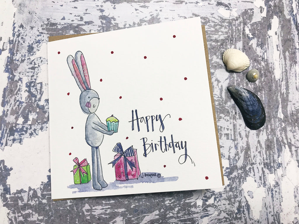 Happy Birthday Bunny Card - Personalised