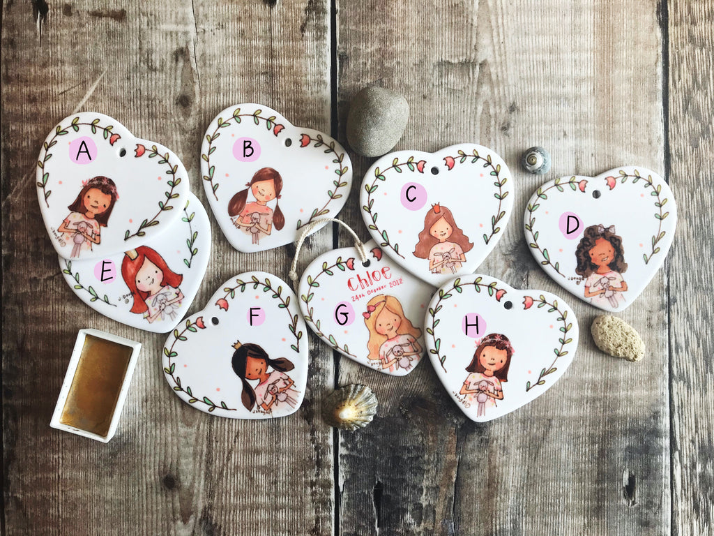 Personalised Little Girl Ceramic Heart